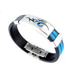 Fancyqube Chic Men Jewelry Flame Logo Titanium Steel Bangle Silicone Wristband Bracelet Stylist Gift Drop Shipping Light Blue By Fancyqube Fashion.