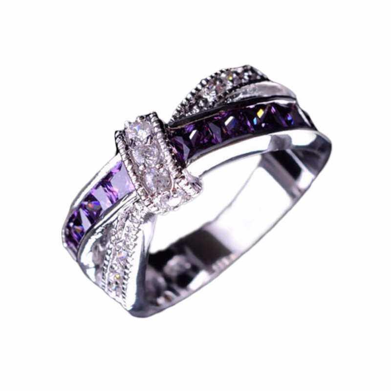 FF8866YY Menyeberangi Amethyst Pernikahan Cincin Pertunangan Cincin Grosir Putih Ungu Cross Perhiasan PP-7 16