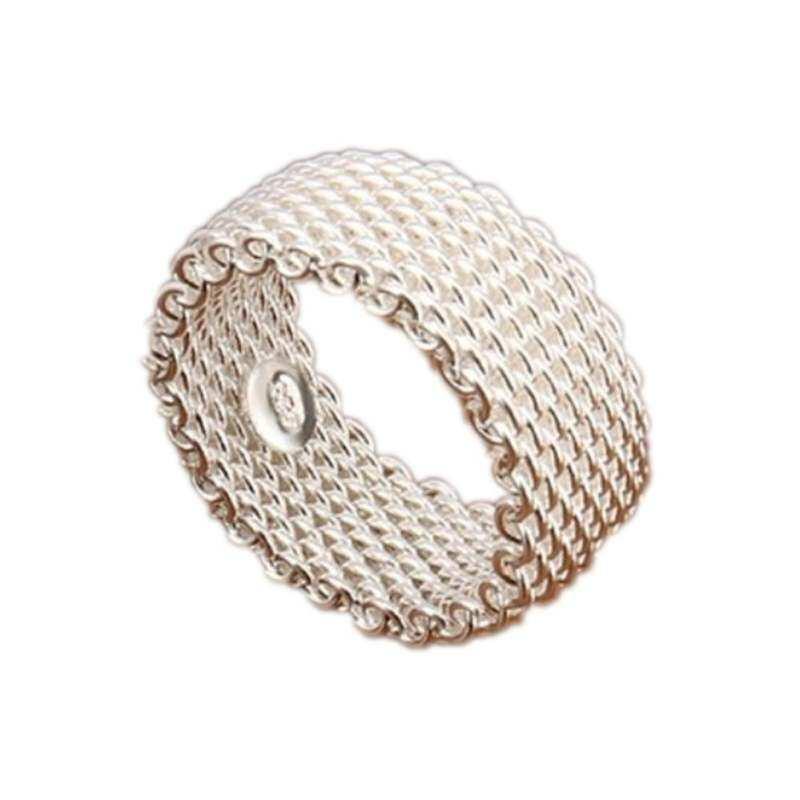 FF8866YY DROP Shipping Berlapis Perak Grosir Perhiasan Cincin Modis Mesh 8 9 Web 7 Net 9