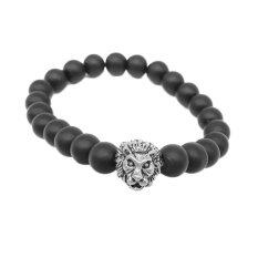 Fancyqube Men Lion Head Beads Bracelet Glass Alloy Chain Bangle -Silver By Fancyqube Fashion.