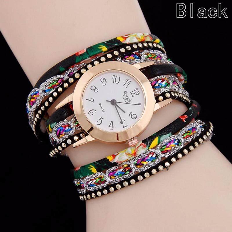 Fancyqube New Weave Braided Winding Wrap Around Leather Bracelet Wrist Watches Women Fashion Luxury Jewelery Crystal Inlaid Quartz Clock Black Malaysia