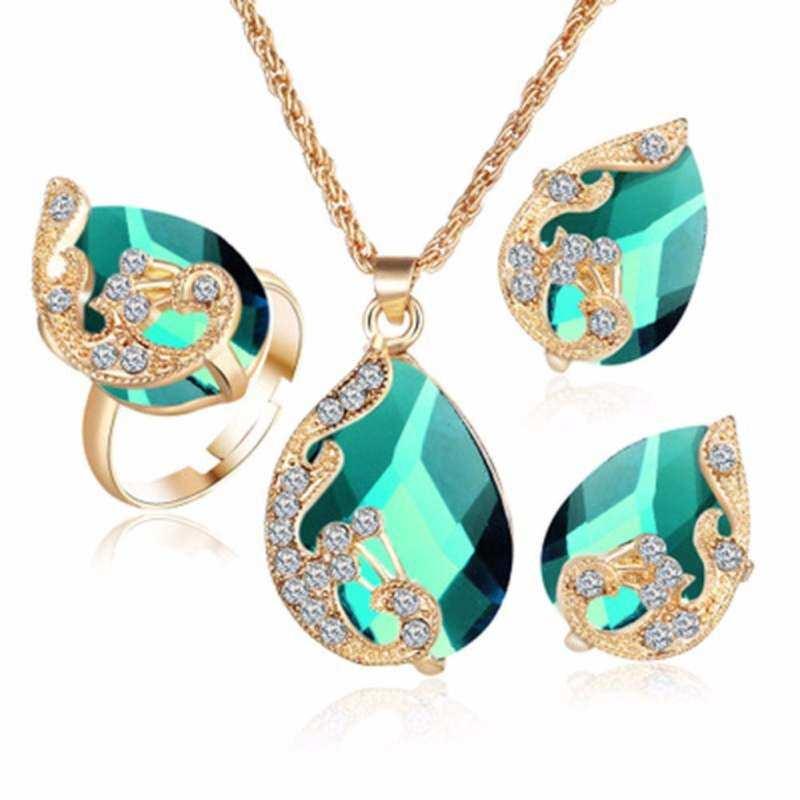 FF8866YY Grosir Emas Plated Austrian Burung Merak Tiga Potong Kristal Zirkon Liontin Air Perhiasan Set Anting