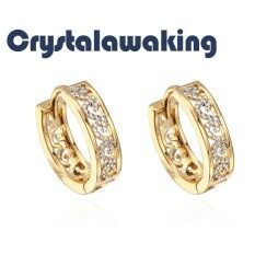 Fashion 18k Gold Plated Hollow Inlay Little Zircon Hoop Earrings By Crystalawaking.