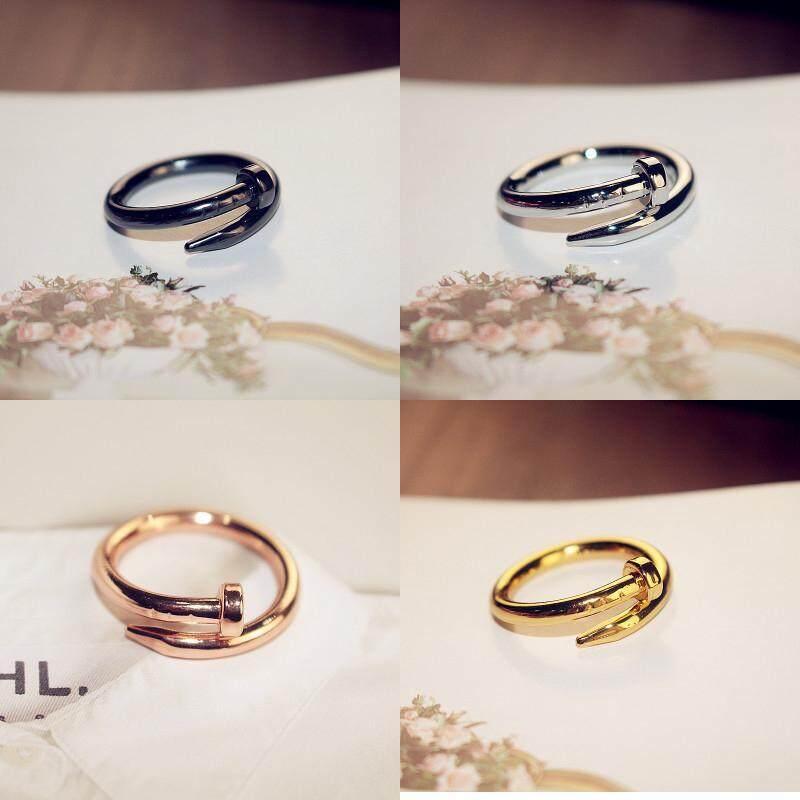 Fashion 4Pcs Unisex Women Men Korean Style Titanium Steel Rings Couple Nail Rings 4 Color Black Silver Gold Rose Gold Malaysia