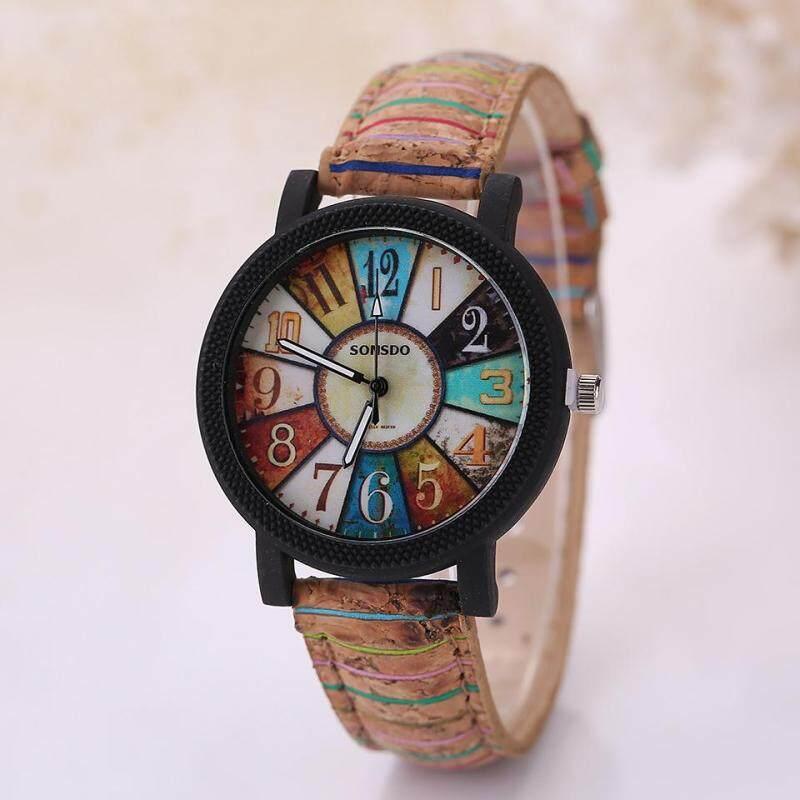 Fashion Brand Womens Vintage Pattern Flower Wooden Grain Analog Leather Strap Quartz Wrist Watch Malaysia