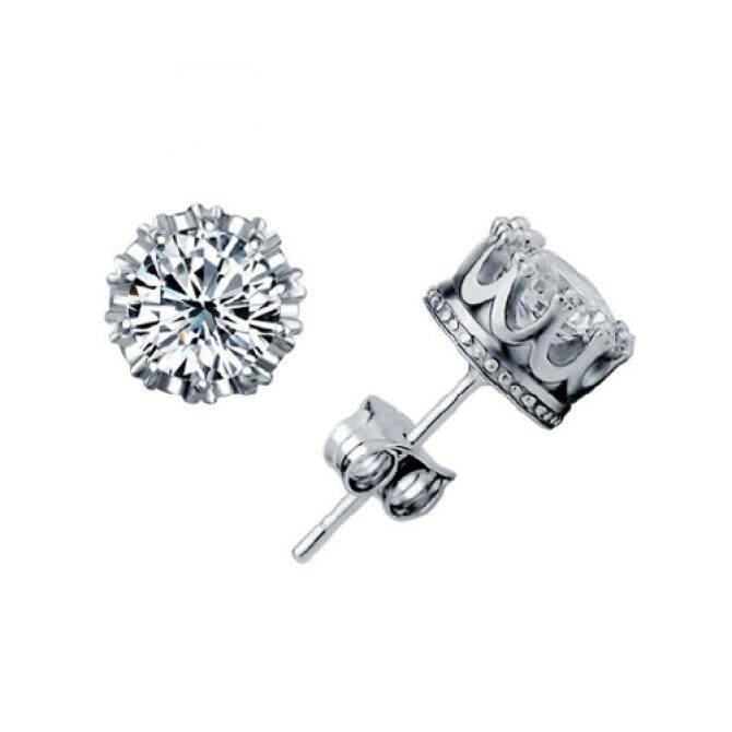 Fashion Charming 925 Sterling Silver Rhinestone Crown Set Ear Stud Earrings - intl