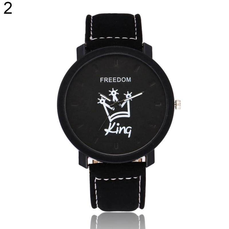 Fashion Couple Queen King Crown Fuax Leather Quartz Analog Wrist Watch Valentine Gift King (Black Dial + Black Band) Malaysia