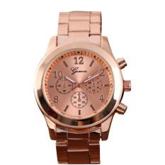935abf847a3d Fashion Geneva Ladies Women Girl Stainless Steel Quartz Wrist Watch Watches(Rose  Gold)-