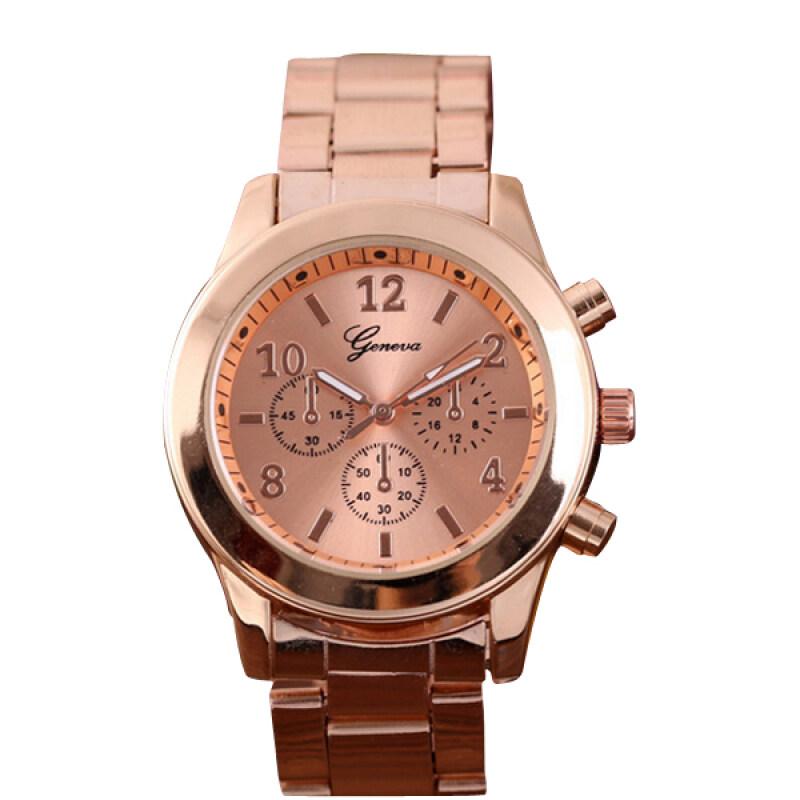 Fashion  Geneva Ladies Women Girl Stainless Steel Quartz Wrist Watch Watches(Rose Gold)- Malaysia