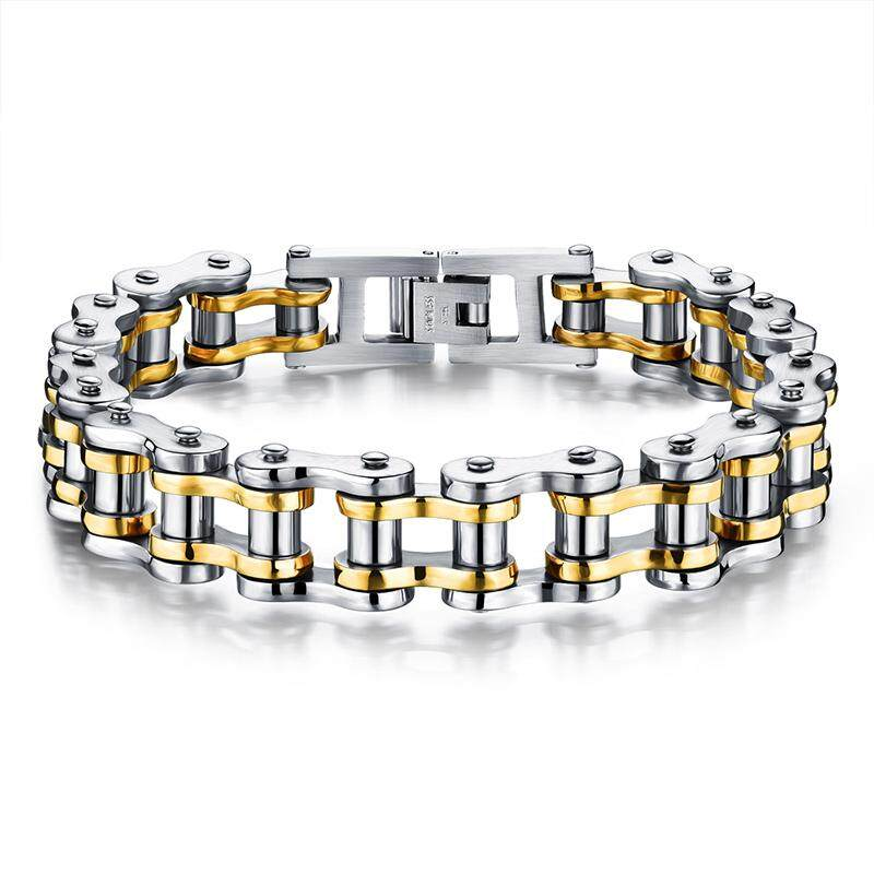 Fashion Jewelry Titanium Stainless Steel Bracelet Classic Biker Chain Bangle Gifts for Man 4style - intl