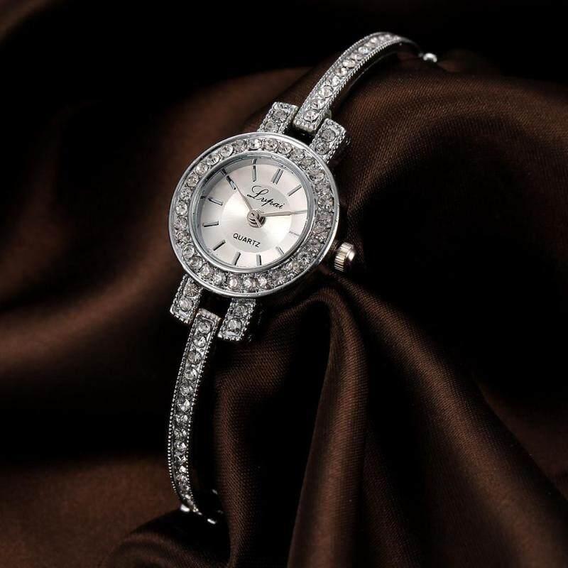 Fashion Ladie Women Unisex Stainless Steel  Rhinestone Quartz Wrist Watch Sliver Malaysia