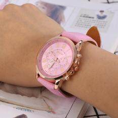 Fashion Ladies Roman Numeral Quartz Watch PU Leather Wristband Casual Analog Watch- Pink Malaysia