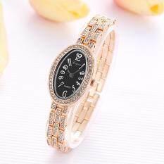 Fashion Ladies Women Unisex Stainless Steel  Rhinestone Quartz Wrist Watch  ABlack Malaysia