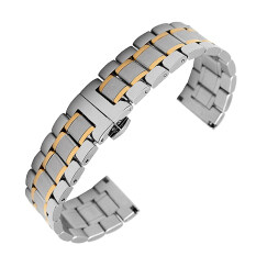 Fashion Luxurious Universal Stainless Steel Replacement Wrist Watch Band Strap Bracelet Belt 20mm Width Silver + Gold Malaysia