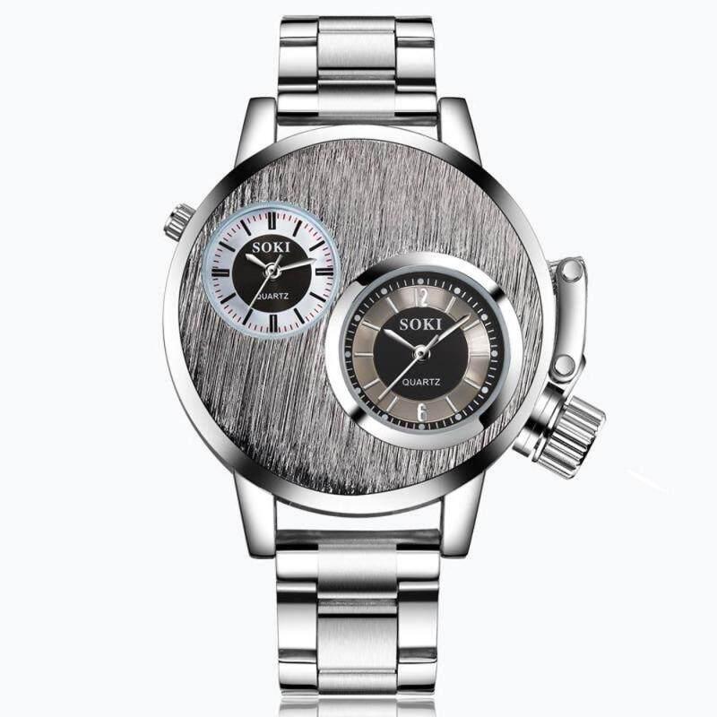 Fashion Man Mens Crystal Stainless Steel Analog Quartz Wrist Watches Malaysia