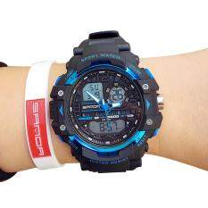 Fashion Men And Women Sports Watches Waterproof Digital Watch Swimming Diving Wristband Hand Clock - Black+Blue Malaysia