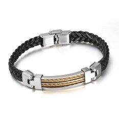 Fashion Men Black Leather Bracelets & Bangles Personality Hand-weaved Leather Wristband Men Jewelry