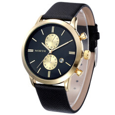 Fashion Men Casual Waterproof Date Leather Military Japan Watch Gift Black Gold Malaysia