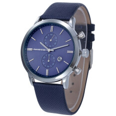 Fashion Men Casual Waterproof Date Leather Military Japan Watch Gift Blue Malaysia