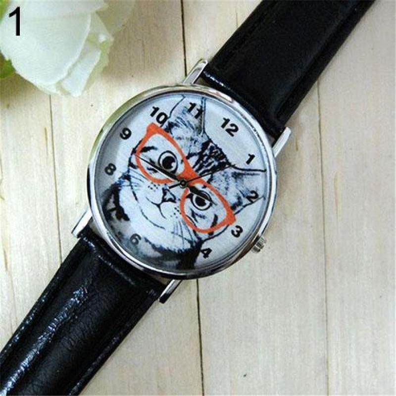 Fashion Mens Womens Glasses Cat Dial Faux Leather Strap Analog Quartz Wrist Watch (Black) Malaysia