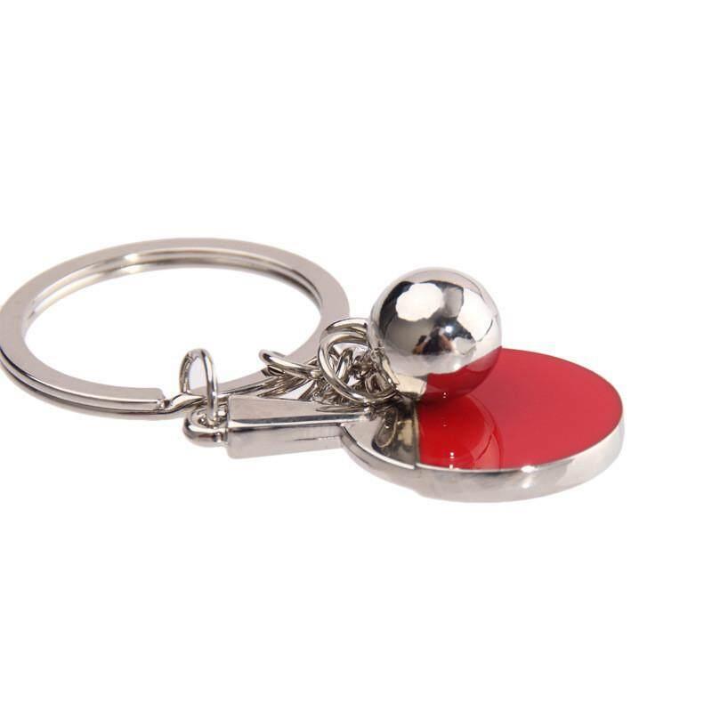 Fashion Manik-manik Logam Dekorasi Meja Merah Raket Tenis Gantungan Kunci Cincin Rantai-Intl