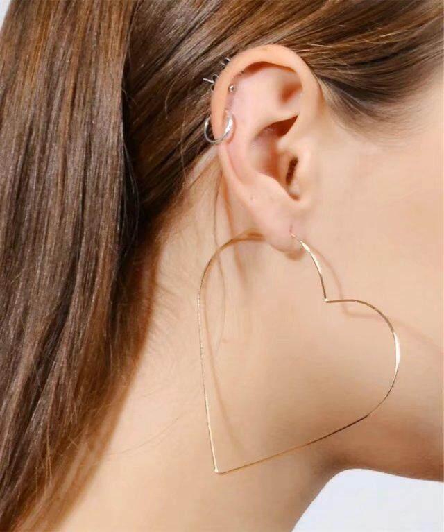 Fashion New Women Hoop Earrings Exaggerated Y Tide Woman Heart Pierced Intl