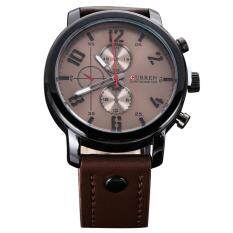 Fashion Quartz Watch Curren Male Watch Leather Wristwatches Brown+Gray Malaysia