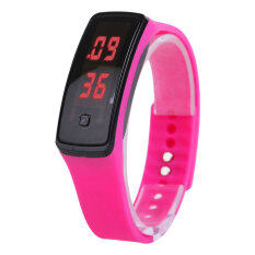 Fashion Sport LED Women Silicone Rubber Strap Touch Screen Digital Bracelet Watch (Rose Red) Malaysia