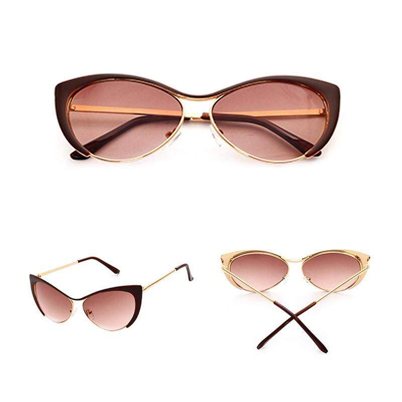 Kacamata Hitam Modis Wanita Mata Kucing Retro Kacamata Hitam Logam Kebesaran Desain Vintage Fashion Nuansa-