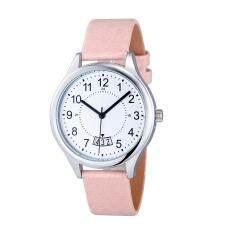 Fashion Women Date Satin Leather Sport Analog Quartz Army Wrist Watch