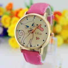 Fashion Bahan Kulit Imitasi untuk Wanita Tali Band Jam Tangan Kuarsa Analog  Watch Kucing HP 413de9dcdc