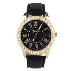 Fashion Women Geneva Rhinestone Leather Band Quartz Wrist Watch Black Malaysia