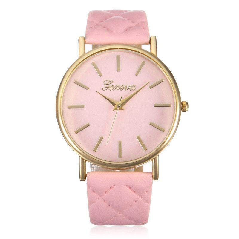 Fashion Women Geneva Roman Leather Band Analog Quartz Wrist Watch Pink - intl