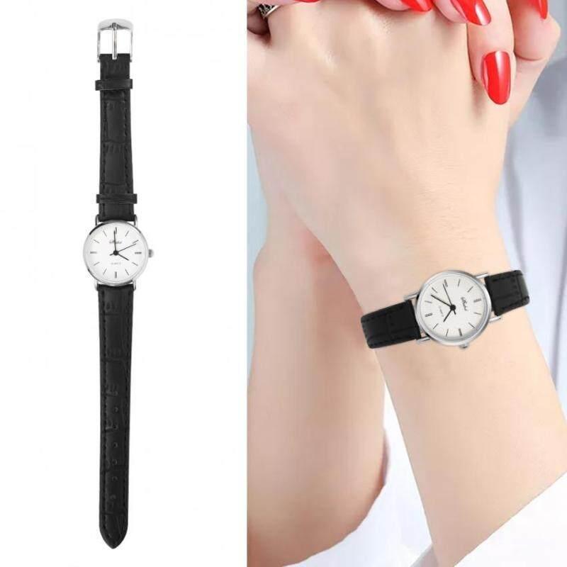 Fashionable Boy Girl Quartz Wristwatch Analog Round Alloy PU Student Love Watch Black Female Malaysia