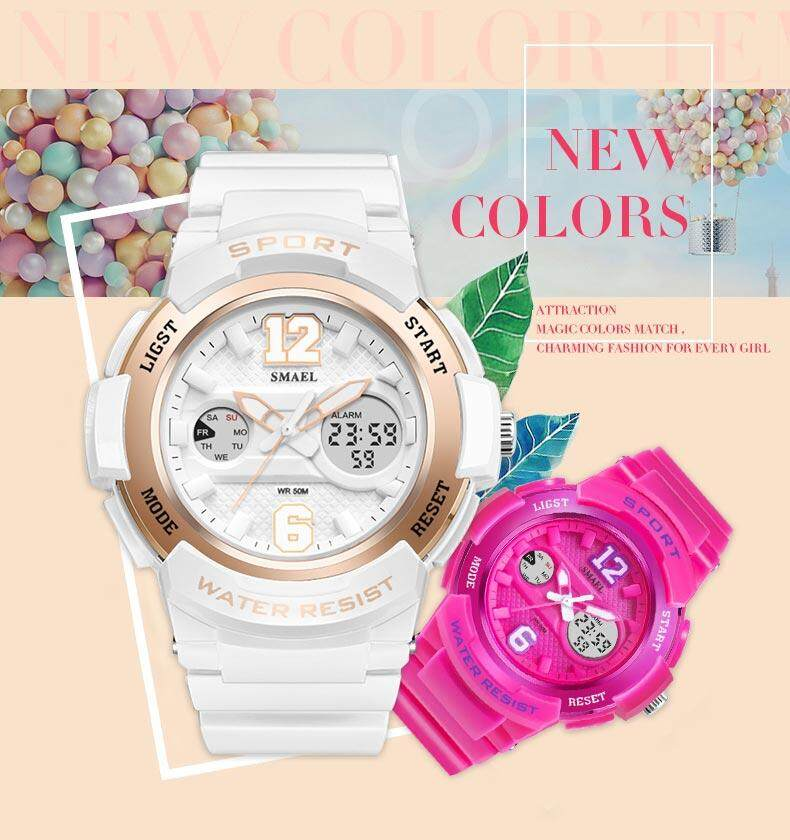Female 6 Colors 50M Waterproof Men Digital Sports Multi Function Wrist Watch Intl Sale