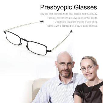 Foldable Stainless Steel Presbyopic Glasses Eyewear Style Reading Glasses Black #1.5
