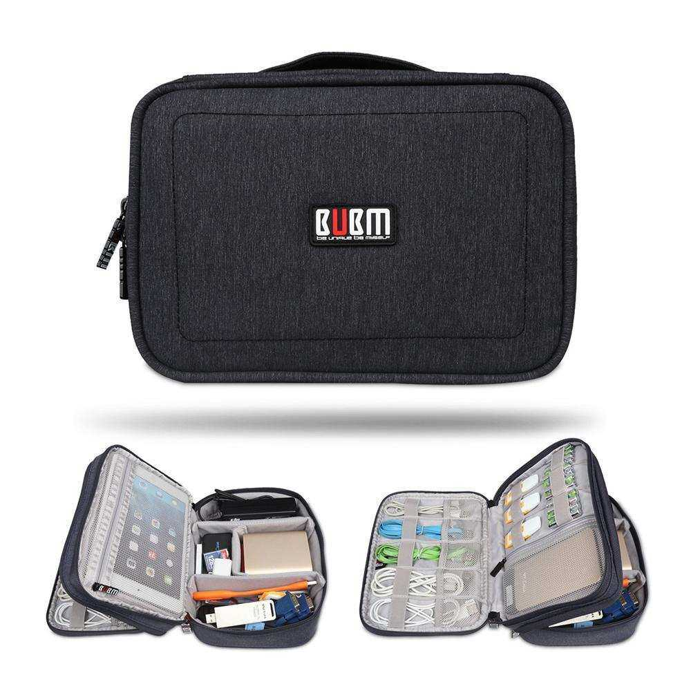 Foonee Travel Electronic Accessories Cable Organizer Bag Portable Case Box Wires SD Cards Layer Storage Double