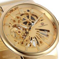 FORSINING Top Brand Luxury Uhren Men Skeleton Mechanical Watches Golden Business  Stainless Steel Mesh Belt Wristwatch 9a340b66535