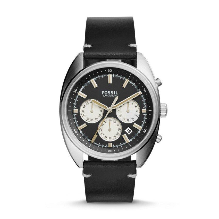 7076c3af050f FOSSIL CH3043 Drifter Chronograph Black Leather Watch