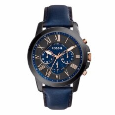 Authentic Original Fossil Men Grant Chronograph Navy Leather Watch FS5061 Malaysia