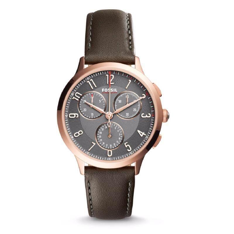 Fossil Women CH3099 Abilene Chronograph Gunmetal Dial Gray Leather Watch (Grey) Malaysia