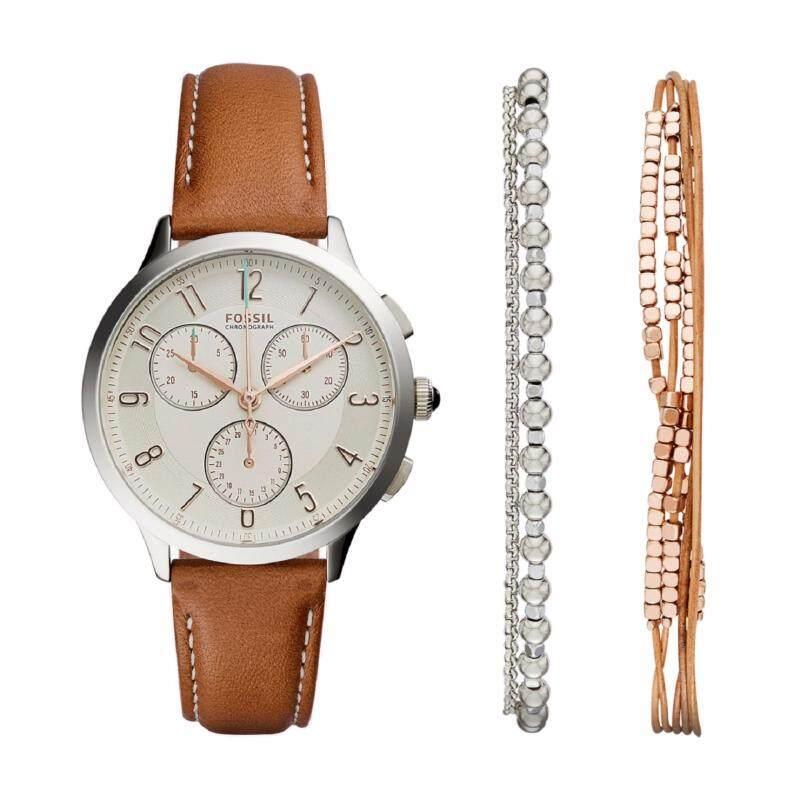 Fossil Women CH4001SET Abilene Chronograph Light Brown Leather Watch & Jewelry Box Set (Light Brown) Malaysia