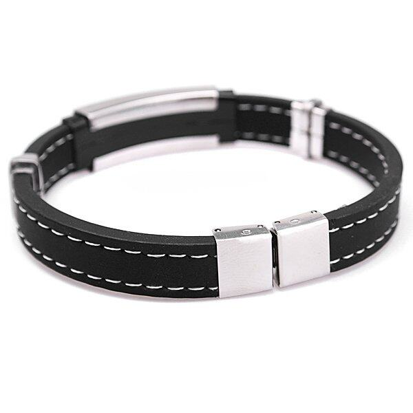 Freebang Mens Silver Stainless Steel Black Rubber Bangle Bracelet Clasp Cuff Wristband - intl