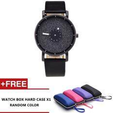 Galaxy Style Fashion Leather Strap Casual Classic leather women watch (Black) Malaysia