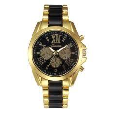 Geneva Alloy Card Steel Watch Three Gold Watch- Black Gold Malaysia