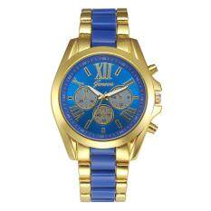 Geneva Alloy Card Steel Watch Three Gold Watch- Blue Gold Malaysia