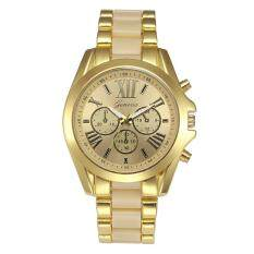 Geneva Alloy Card Steel Watch Three Gold Watch- Rice Gold Malaysia