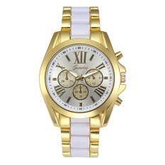 Geneva Alloy Card Steel Watch Three Gold Watch- White Gold Malaysia