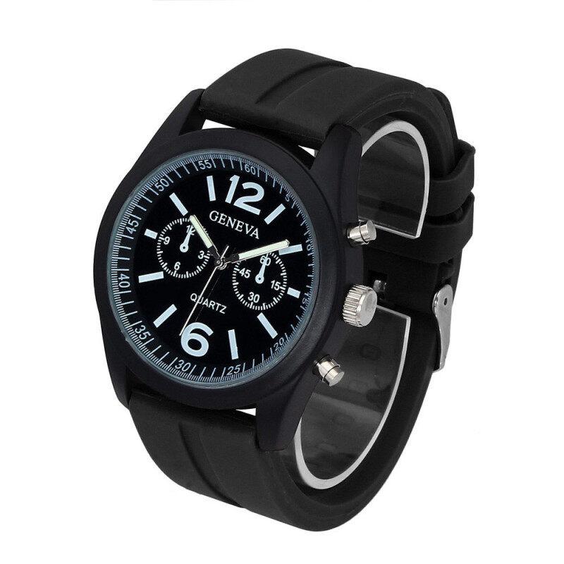 Geneva Fashion Unisex Silicone Analog Quartz Wrist Watch  Black Malaysia