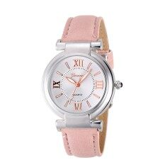Geneva Ladies Fashion Leather Band Quartz Watch Womens Casual/ Business Stainless Steel Case Watch (Pink) Malaysia